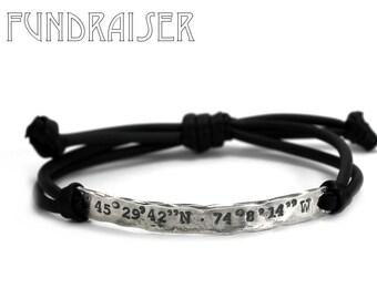 Coordinates bracelet, distressed custom bracelet, adjustable, KCF FUNDRAISER All profit will go to rebuild our CrossFit gym #KCF13