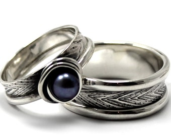 His and Hers: two textured bands, one with a pearl, 2 engravings or textures included on each ring, wedding bands, promise rings. #EJ158
