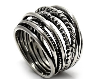 Voluminous silver Ring with multiples Twisted Wire in Sterling Silver 925, Wrap ring, wrap wire ring, gift for her, big silver ring. #B130