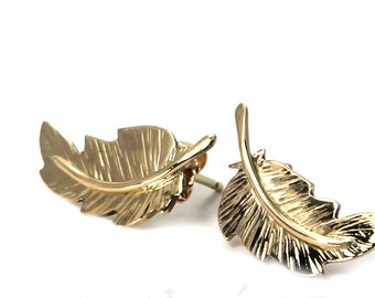 Unique Feather earrings 20mm, handmade feather earrings, solid gold 10k, each feather is unique, #BO121