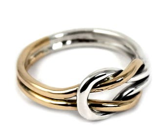 Double knot ring gold & silver,reef knot ring in solid 10k gold and sterling silver,double knot ring,thick knot ring,sailor ring,his or her