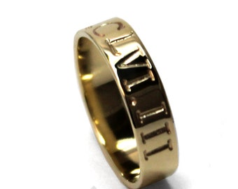 Gold personalized ring 5mm wide 2 engravings included, solid 10K yellow gold ring, personalized wedding ring band, coordinate ring. #J219