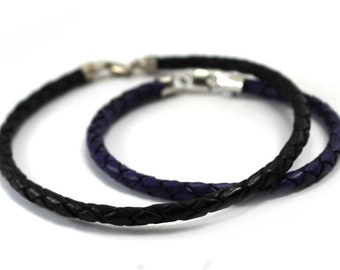 Leather bracelet, simple 4mm braided rope bracelet, only one leather bracelet is included, simple minimalist leather cord, add bead #BC144