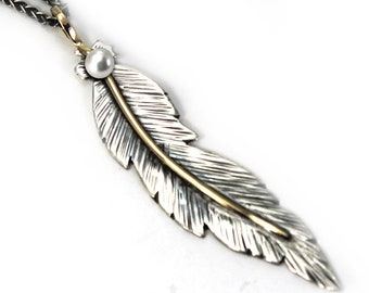 Unique Feather pendent 60mm, handmade feather necklace, solid sterling silver, gold 10k, with a freashwater pearl,  #P114