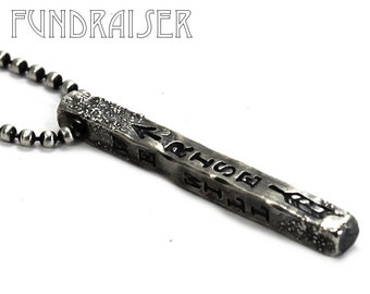 Silver stick necklace, unisex pendent, distress silver necklace, KCF FUNDRAISER All profit will go to rebuild our CrossFit gym #KCF9