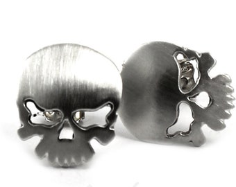 Skull earrings, silver skull earrings, solid sterlilng silver, handmade domed skulls, skull ear studs, satin or shiny. #BO120