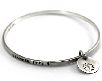 BANGLE Medic Alert, solid sterling silver bangle, flat wire 1.5 mm x 3 mm thick with medic-alert charm, ID bracelet, coordinates. #BA102
