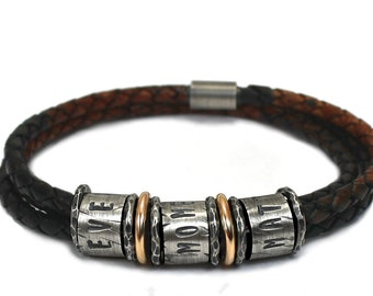 Distressed name leather bracelet for men, 3 cords, bead with smooth 10Kt gold & silver hammered separator, gift for men, gift for dad #BC355
