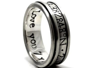 Spinner ring men, meditation ring for men, Silver spinner ring, meditation ring for women, Spinner ring sterling silver, 9mm wide #JC117