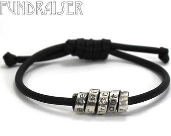 Twisted text bracelet, distressed custom bracelet, adjustable, KCF FUNDRAISER All profit will go to rebuild our CrossFit gym #KCF14