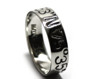 Ring band 5 mm 2 engravings included, silver coordinate ring, ring band with personalized message, longitude latitude ring. #J108