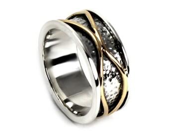 Meditation ring for women, Spinner ring gold, Anxiety ring spinner, Anxiety ring silver, 10mm wide  #JC248