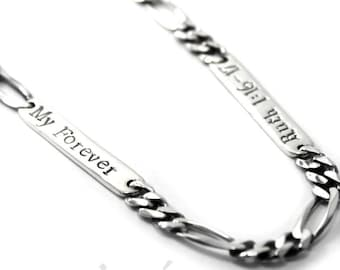 Personalized Figaro chain, customized plate 4.5mm / 5.4 mm / 8.1mm wide, 1 to 5 plates, names, dates or text engraved, chain for men #H101