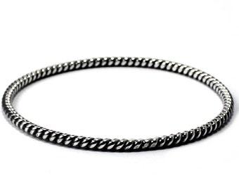 Bangle Silver big twisted wire, solid sterling silver bangle, chunky twisted round wire 3.25 mm thick,nautical gift, sailor bracelet. #BA112