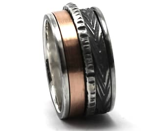12mm Spinner ring; 3mm 10k rose gold band and 2 silver spinners, one textured cable 2mm and one 3mm, 2 engraving included, spinner. #JC208