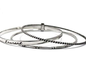 Set of 3 Bangles attach together with personalized text or texture, solid sterling silver, one 2mm twisted, one 1mm x 3mm and one 2m. #BA119