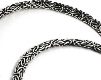 Byzantine chain 4mm flat oval, solid sterling silver chain, bracelet or necklace, 5,5 inches to 40 inches, soldered links, quality. #C106
