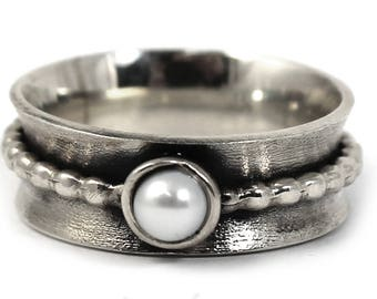 8mm silver band with pearl, text inside available, Different color of pearl, solid sterling silver oxidized, large silver band, ring. #J134