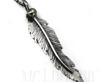 Unique Feather pendent 60mm, handmade feather necklace, solid sterling silver, each feather is unique, with a freashwater pearl,  #P104