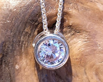 CLEAR CZ pendant, pendant with cz, available with adjustable chain. Ready to go!