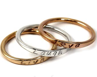 SET OF 3 10k gold stacking rings,rings with names,dates or words,personalized stackable ring, solid gold, white, rose or yellow gold. #BE121