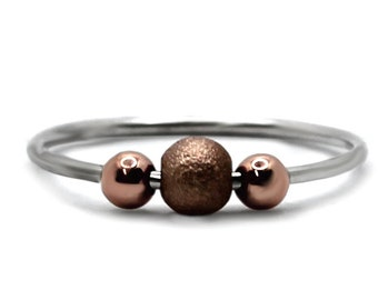 Fidget ring with rose gold filled beads, anti stress ring, minimalist spinner ring, dainty anxiety ring, meditation ring in silver #AR305