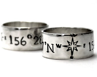 His and Hers: two 10 mm ring band set, 2 engravings included on each ring, 2 ring band set, wedding ring, wedding band, personalized. #EJ165