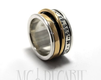 Spinner ring 13mm; two 10k yellow gold spinners and one 3mm wide silver spinner, personalize with text or coordinates. #JC218