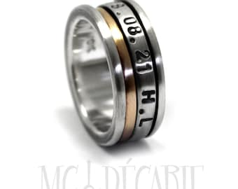 Spinner ring 8mm; 2mm 10k gold band and 3m, silver spinners, 2 engraving included, sterling silver & gold , wedding, promise ring. #JC226