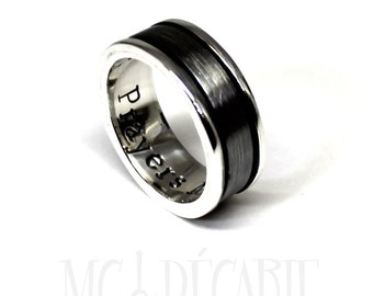 Spinner ring 7mm; 4mm spinner in solid sterling silver, brushed spinner ring, can add custom text on the spinner or engraving inside. #JC110