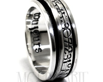 CRYPTEXT Spinner ring 10 mm; 2x 2mm flat spinner with personalized text, turn the spinner to read the message, coordinate ring. #JC138
