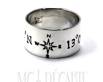 Ring band 13 mm engravings included, coordinates ring, ringband with longitude and latitude, sterling silver,personalized jewelry. #J152