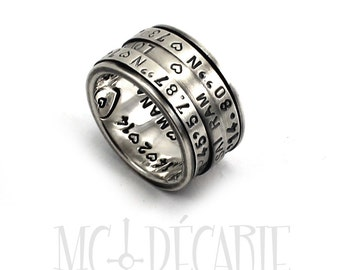 Spinner ring 12 mm wide only in sterling silver with 3 flat 3mm spinner, personalized rings, coordinates rings spinne. #JC126