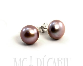 Pearls ear studs, 7-8 mm freshwater pearls with sterling silver, rose pearl earrings, different color available, dark pearl earrings. #BO112