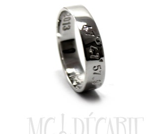 5mm ring band, 10k White gold with coordinates or personalized text, inside or outside, with rhodium plating, wedding, wedding ring. #J211