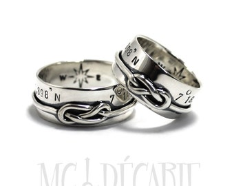 His & Hers: knot ring band set 8mm;  2 engravings included for each ring, 8 figure knot or simple knot, wedding rings, promise ring. #EJ150