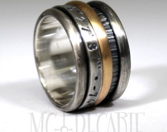 Spinner ring with a half round 10k yellow gold and one 3mm sterling silver, personalized engraving inside or outside, ring 2 tones. #JC204