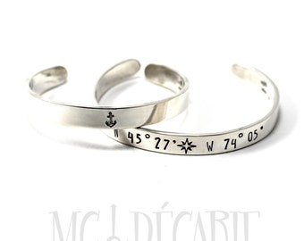 His and Hers Cuff bracelets personalized 8mmX 2mm in solid sterling silver, longitude latitude bracelets set, gps, personalized gift. #BA118