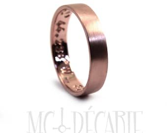 Rose gold 4mm ring band, solid 10k pink gold, coordinates ring, personalized with engraving, gps ring longitude latitude, coordinates. #J306