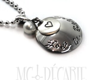 Silver round charm necklace, 2 disc with pearl, 19mm and 8mm disc, custom necklace, compas pendant, pearl necklace, silver charm. #PA106