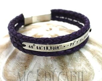 Purple Leather bracelet, 6 mm wide silver plate, personalized bracelet, longitude latitude bracelet, coordinate bracelet, gift. #BC116