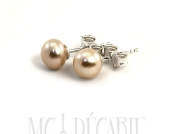 Pearls ear studs, 6-7 mm freshwater pearls with sterling silver, different color available. #BO106