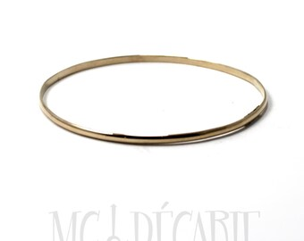 BANGLE in solid GOLD 10k yellow gold bangle, half round 1mm x 2mm gold wire. Gift for her, bracelet in gold. #BA103