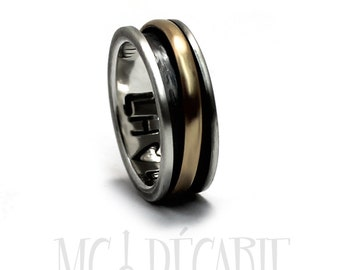 Spinner ring 7mm with half round 10k yellow gold element, solid sterling silver, unisex brushed spinner ring you can personalize. #JC243