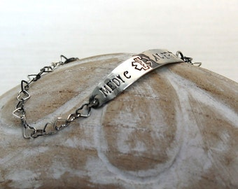 Medic alert bracelet with Sterling silver chain, can be personalized, large silver plate. #BA113