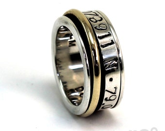 Sipnner ring 9mm; 4mm silver and a round 2mm spinner in 10k Yellow gold, personalized engraving on spinner, coordinates wedding ring. #JC234