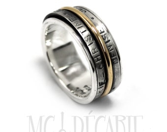 Spinner ring 11mm with 3 elements ; 1 in 10k gold and 2 sterling silver, place for custom text outside, unisex family ring band. #JC214