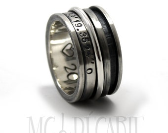 Spinner ring 12 mm wide in sterling silver with 3 spinners, one 3mm and two 2mm, personalized ring, coordinates ring, meditation. #JC128