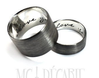 His and Hers: 6 mm - 13 mm ring band set, 2 engravings per ring, 2 ring band set, wedding rings, wedding band, personalized ring. #EJ151