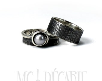 His and Hers: two textured bands, one with a pearl, 2 engravings included on each ring, wedding bands, promise rings. #EJ143